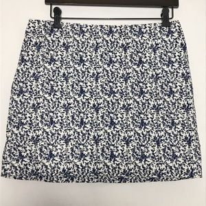 Madewell Floral White and Blue Mini Skirt